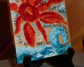 Acrylic Ocean Painting, Wood Painting, Inspirational Art, Christian Art, Beach Art, Ocean and Sun Art, Original Art, ArtFromTheCabin