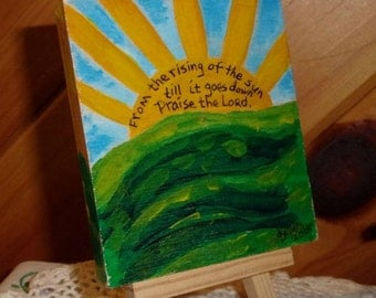 Acrylic Painting, Landscape Painting, Inspirational Art, Christian Art, Painting and Easel,  Landscape, Sun, Original Art, ArtFromTheCabin
