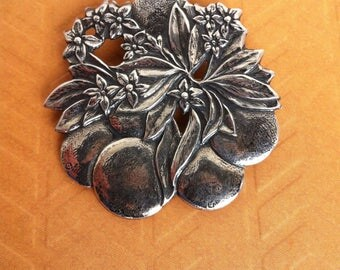 Vintage Sterling Pin with Oranges and Buds, Round Silver Figural Brooch