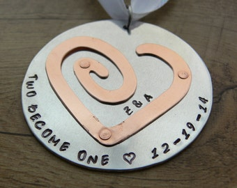 First Christmas Husband and Wife Hand Stamped Christmas Ornament - Bride and Groom Ornament - Love heart Ornament