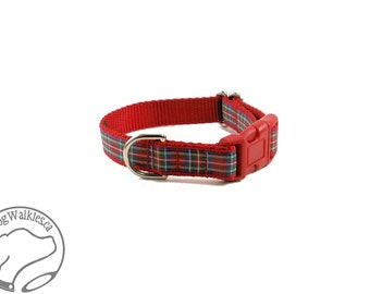 """Royal Stewart Tartan Dog Collar // 3/4"""" (19mm) Wide // Red Plaid Dog Collar // Quick Release or Martingale //Choice of collar style and size"""
