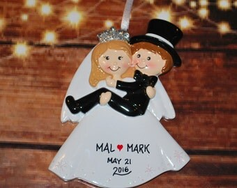Personalized Wedding Bride Carrying Groom Christmas Ornament