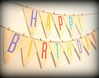 Happy Birthday Banner -Little Man Party-Birthday banner-party bunting- Party Banner -colorful banner-little man-party-boy or girl birthday