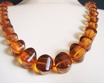 Vintage Genuine Amber Cube Bead Necklace / Cognac Amber / Honey Amber / Jewelry / Jewellery