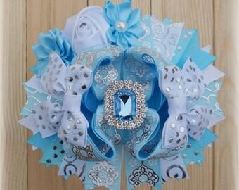 Cinderella Over the Top Hair Bow, Girl Birthday Bow, Cinderella Costume Accessories, Cinderella Birthday Bow, Blue Princess Hair Bow