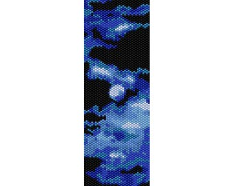 Abstract Moon Peyote Bead Pattern, Bracelet Pattern, Bookmark Pattern, Seed Beading Pattern Delica Size 11 Beads - PDF Instant Download