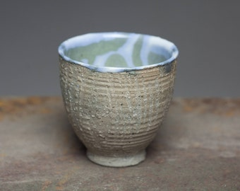 Natural clay surface, wood fired stoneware, glazed ceramic pottery teabowl,yunomi,tea cup