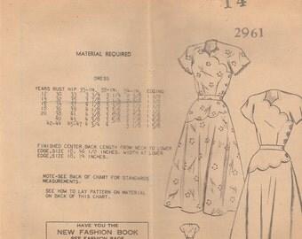 Scalloped 40s Vintage Dress Pattern 2961 Size 14