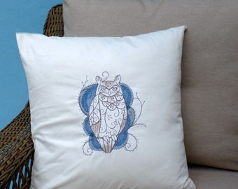 owl pillow, 18x18 embroidered pillow case, pillow cover, delicate owl decor in blues and brown, embroidered owl home decor