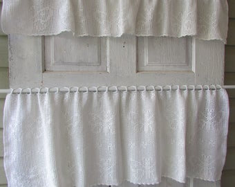 Vintage hand made crochet valances cafe curtains cottage style with butterflies