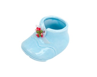 Vintage Blue Ceramic Baby Shoe Little Bootie Planter Embroidered Floral and Ribbon Made in Taiwan House of Zog Shower Decor