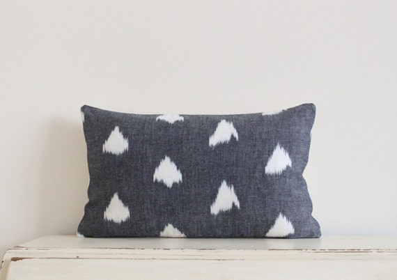 "Arrow Ikat pillow cushion cover 12"" x 20"" in dark grey"