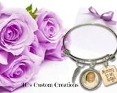 CUSTOM Mommy to an Angel-  Photo Charm Bracelet Adjustable Personalized Bangle Customized Picture Keepsake -Memorial Bracelet-Sympathy