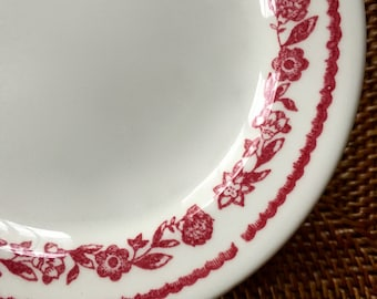 Kenmore Dessert or Bread Plate, Cheery Red Floral Restaurant China by Buffalo China ca. 1960s