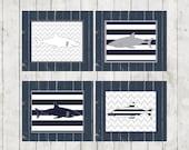 Shark wall decor, shark prints, navy and gray, boy's wall art, nautical wall decor, 11x14 prints, shark nursery,  nautical nursery