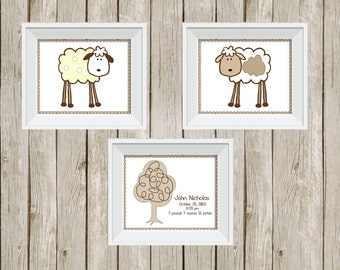 lamb nursery, lamb wall art, neutral nursery, lamb nursery prints, wall art, room decor, personalized print, baby gift, lamb baby shower