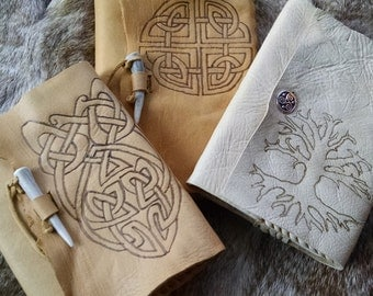 Celtic Leather Journals, Refillable, Burned Celtic Knots, Tree of Life - Choose Your Journal