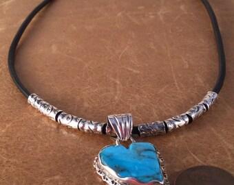 Heart Pendant Sterling Silver Kingman Turquoise Pendant #04P