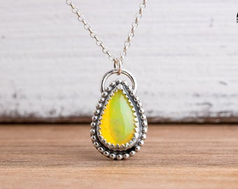 Fiery Ethiopian Opal Gemstone Necklace in Sterling Silver with Beaded Border - Yellow Green Orange Ethiopian Opal Necklace - Gift for Her