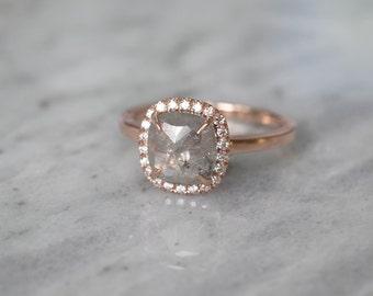 Grey Cushion Shaped Diamond Halo Engagement Ring, Recycled 14K Rose Gold