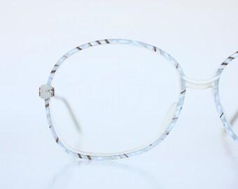 Vintage 80's Oversized Italian Ice Blue Eyeglasses Frames