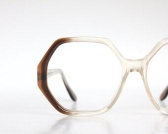 Vintage Angular Mocha Eyeglass Frames