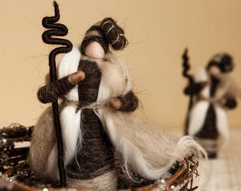 Light gray and white Wool Shepherd Waldorf Style Natural Eco-friendly gift Nativity Nature Scene handmade needle felt