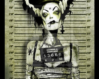Franky Bride Arrested Art Print hand Signed by Marcus Jones