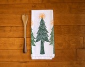 Ready to Ship--Christmas Kitchen Towel, block print, christmas trees in green with yellow stars