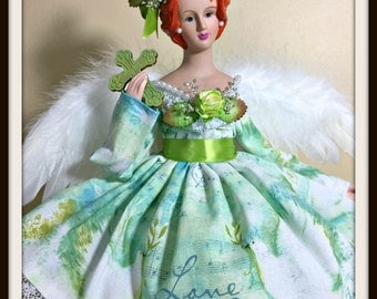 EASTER ANGEL, Red Haired Angel, St. Patrick's Day Gift Angel, Mother's Day Gift Angel, OOAK Handmade Inspirational Easter Angel Tree Topper