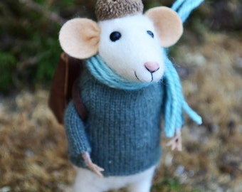 Little Traveler Mouse- Needle Felted Ornament of collection Rustles from the Meadow