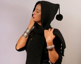 Black Knit Hood Scarf, Knit Hooded Scarf, Chunky Cowl Hood, Scoodie, Warm Hooded Hat,  Men & Women Gift, Knit Hat, Winter Unisex Knitwear