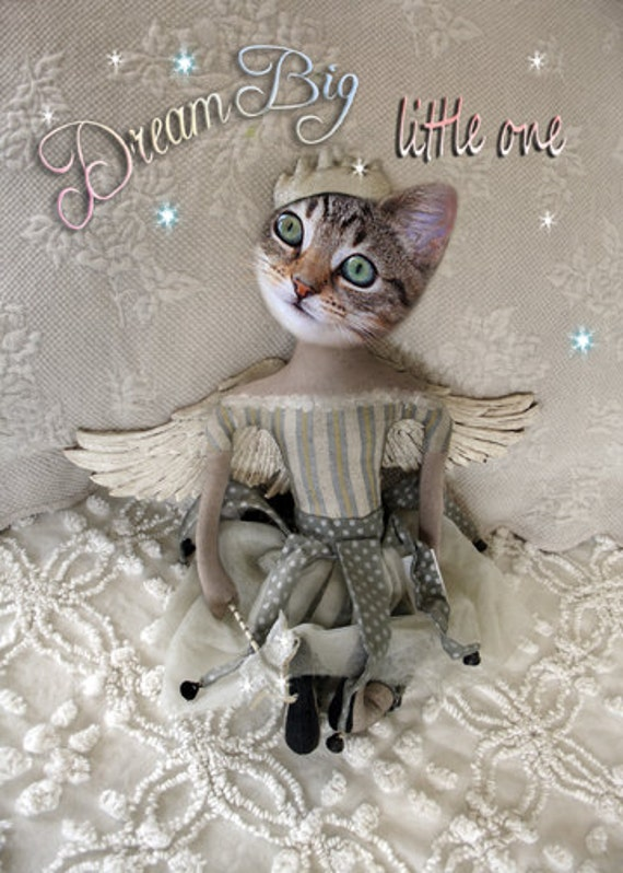 Dream Big Little One, Cat Print, Anthropomorphic, Whimsical Child Decor, Photo Collage, Nursery Decor, Gift for a Girl, Unique Art Print