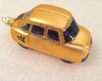Vintage Gold NYC TAXI CAB w Mica Glitter Czech Mold Blown Glass Christmas Ornament