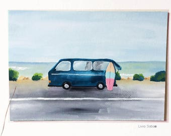Roadtrip Original Gouache Painting 7X10