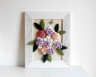 Bouquet fabric flower framed 3D wall art newborn baby shower gift