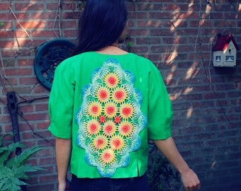 Bohemian Jacket 1980s Vintage Size S - L Doily Back Boho Hippie Women's Upcycled Clothing Recycled Eco Friendly OOAK