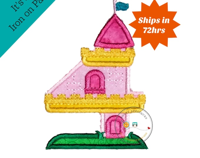 Princess castle birthday number four machine embroidered patch, fast shipping iron on girl birthday applique, Pink and yellow number 4