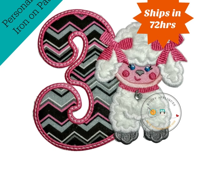 Third birthday Paris poodle iron on applique, Embroidered Paris themed birthday number, Iron on number patch for girl, iron on embellishment