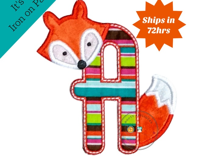Woodland fox letter A machine embroidered iron on no sew patch, fox embroidered monogram letter a, ready to ship