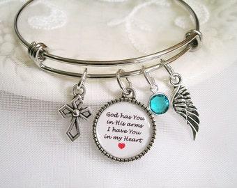 Memory Charm Bracelet God has you in His hands Custom Message Charm Angel Wing Birthstone Bracelet Sympathy Loving Memory of Mom Dad Memory