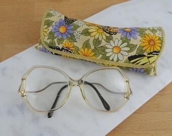 Women's Vintage Eyeglasses Frames with Case | Vintage Glasses | 1980s Oversized Frames | Secretary / Librarian Glasses | Tootsie Glasses