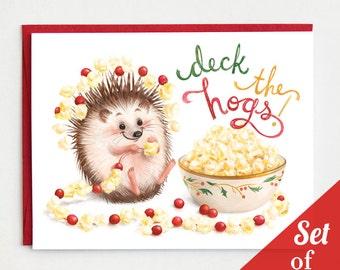 Hedgehog Holiday Cards -  Set of 6 Cards