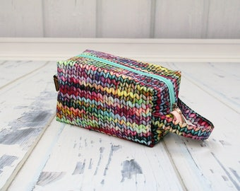 knitting fabric Small boxy bag, Knitting Boxy Project Bag, Box Bag, Knitting Project Bag. Sock Knitting bag. Crochet bag,zippered box bag
