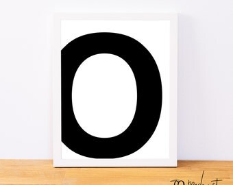 Letter O, Typography Print, Letter Print, Printable Monogram, Printable Art, Minimal Decor, Black and White Wall Art, Digital Download