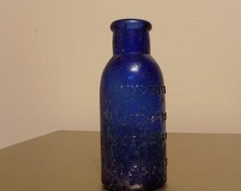 Vintage Colbalt Blue Medicine Bottle/ Bromo-Seltzer Baltimore MD
