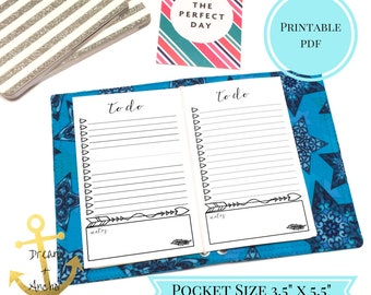 Pocket Size To Do List Travelers. Pocket Planner Printable. Notes Fauxdori Page. Instant Digital Download. Field Note Planner Printable
