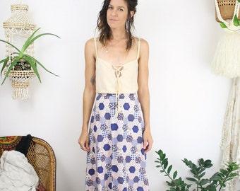 70s Patchwork Maxi Skirt, Navy floral gingham polka dot Boho skirt, FOB/LA, XS 4124