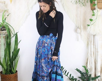 1970s Gypsy Skirt, Vintage 70s boho prairie skirt, Blue Paisley Black lace, Carefree Fashions, XS Small 3092