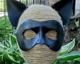 Black Leather Cat Ears, Leather Chat Noir Ears on Black Metal Headband, Miraculous Black Cat Adult Sized Cosplay Ears